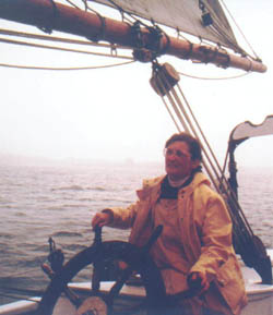 Author at wheel of Schooner Bowdoin