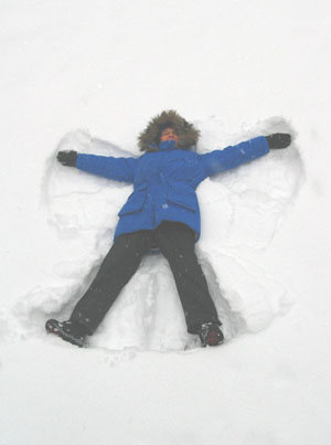 Mary making snow angel