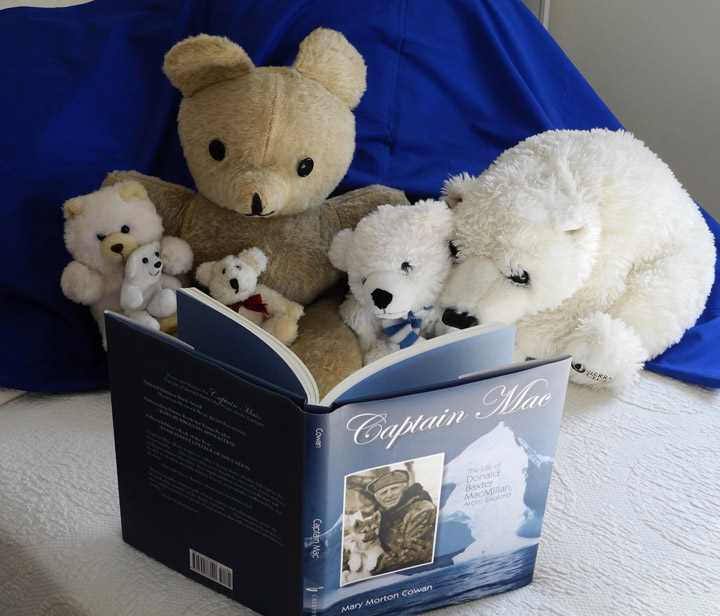 Stuffed polar bears reading CAPTAIN MAC